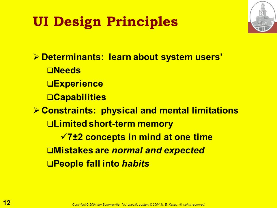 UI Design Principles Determinants: learn about system users' Needs