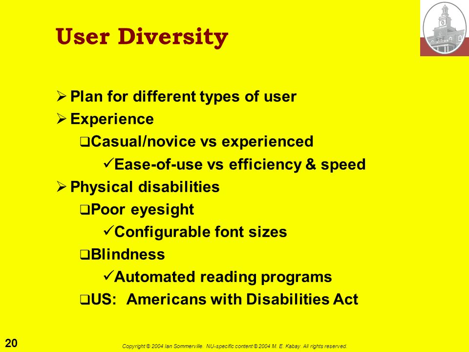 User Diversity Plan for different types of user Experience