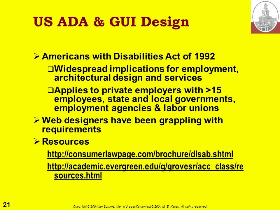 US ADA & GUI Design Americans with Disabilities Act of 1992
