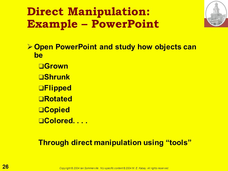 Direct Manipulation: Example – PowerPoint