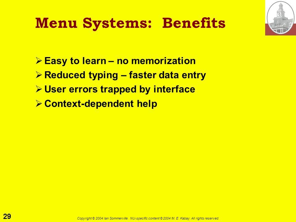 Menu Systems: Benefits