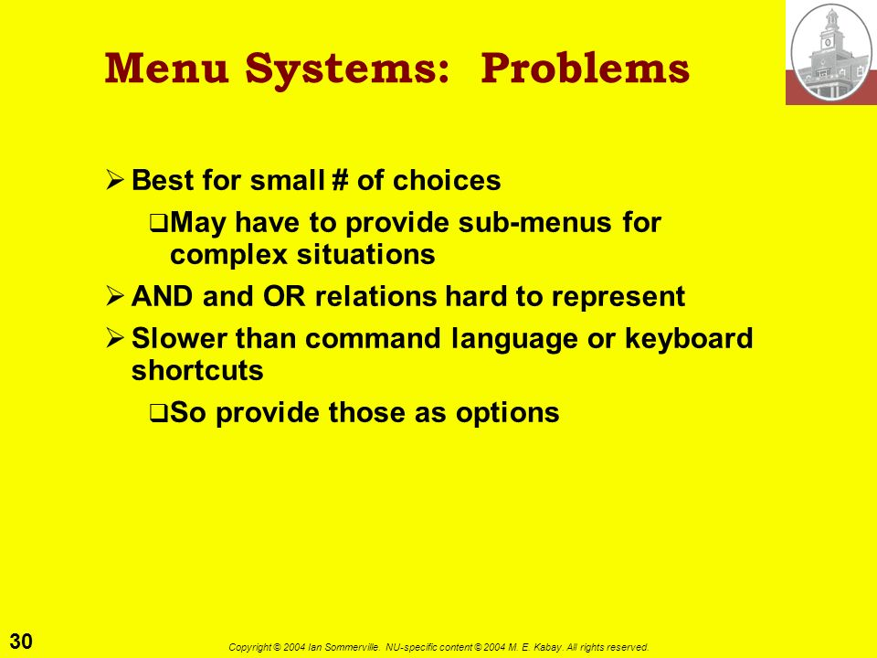 Menu Systems: Problems