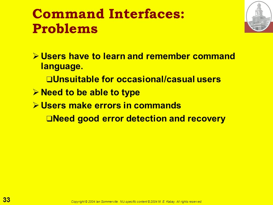 Command Interfaces: Problems