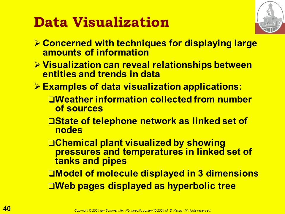 Data Visualization Concerned with techniques for displaying large amounts of information.