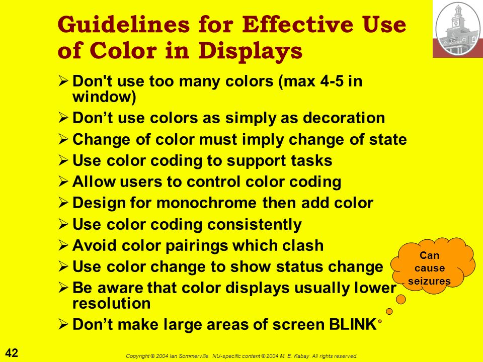 Guidelines for Effective Use of Color in Displays