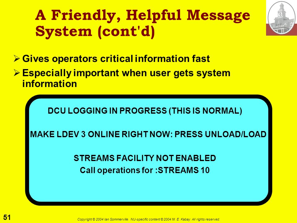 A Friendly, Helpful Message System (cont d)