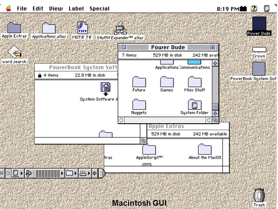 Examples of GUIs (2) Macintosh GUI