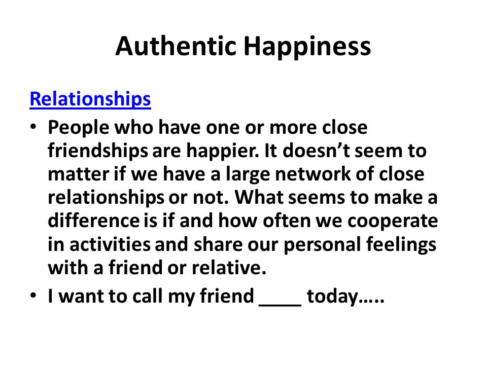 Authentic Happiness Relationships