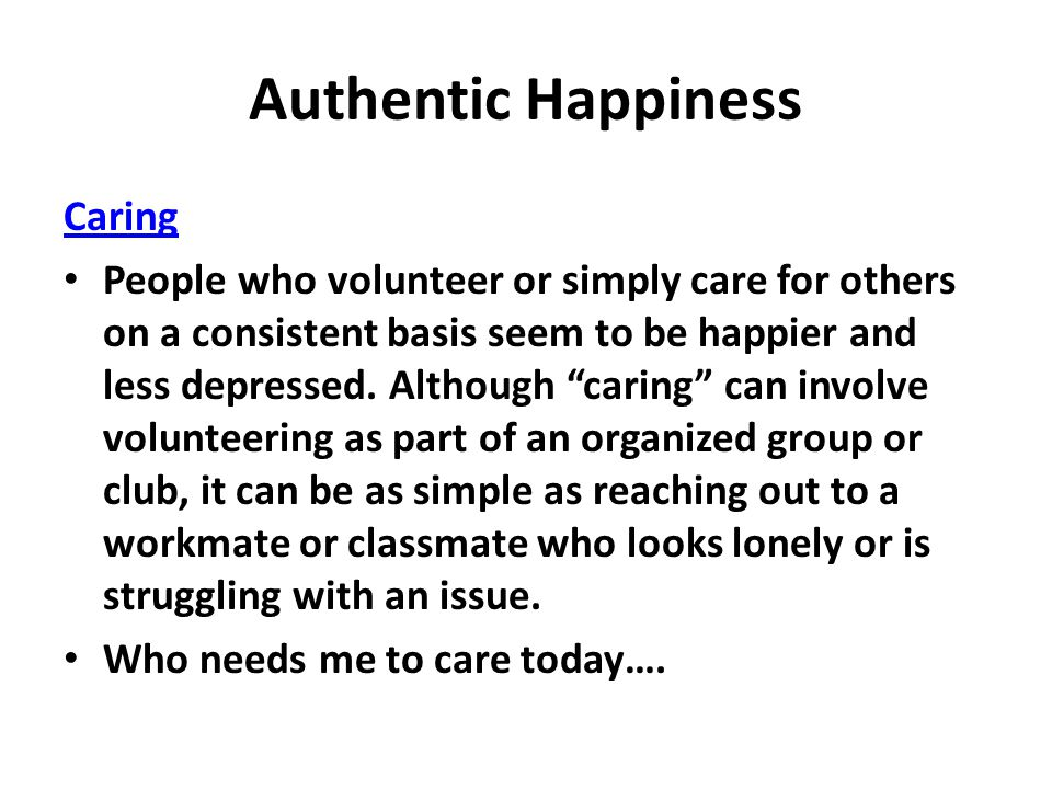 Authentic Happiness Caring