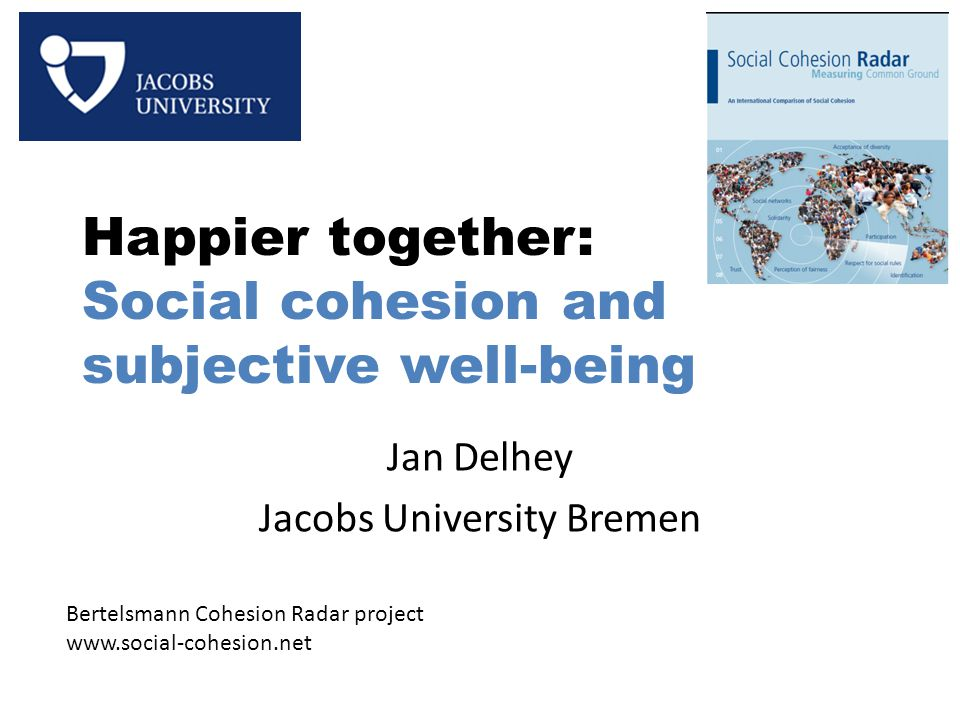 Happier together: Social cohesion and subjective well-being