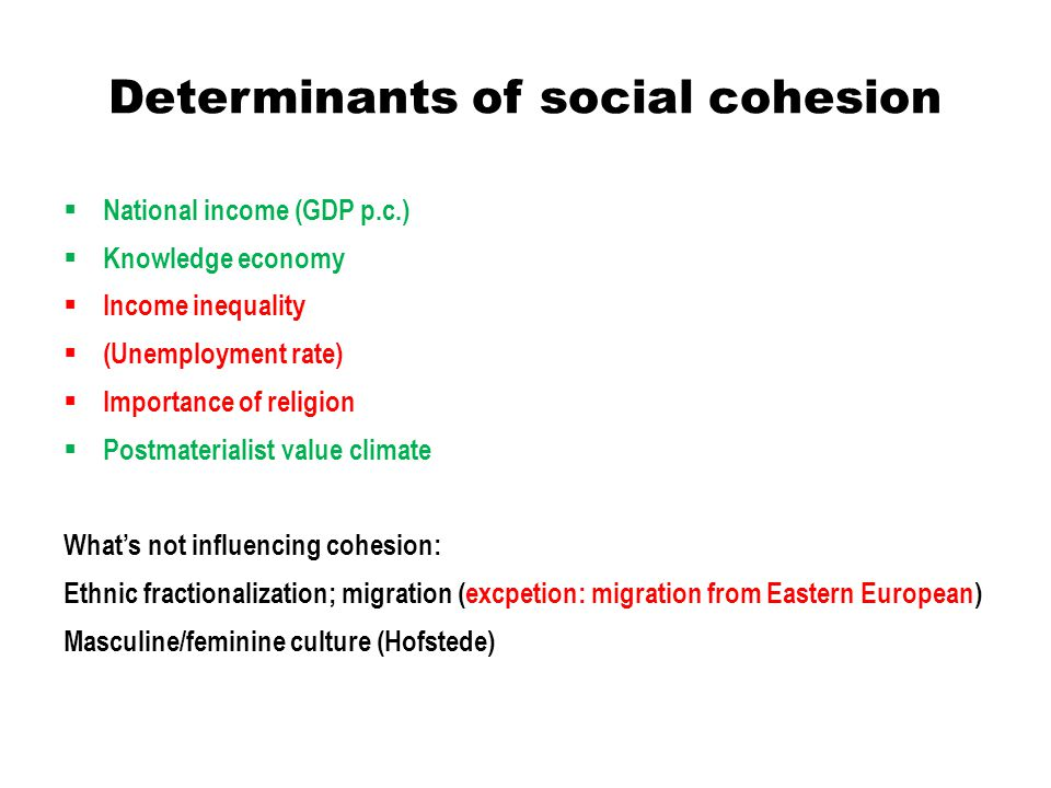 Determinants of social cohesion