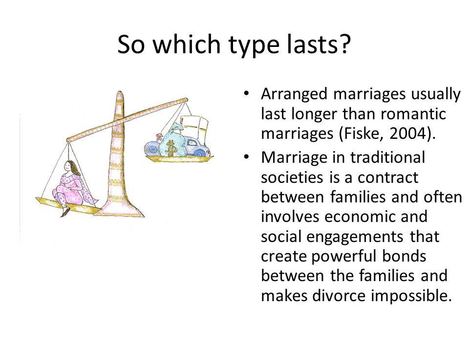 So which type lasts Arranged marriages usually last longer than romantic marriages (Fiske, 2004).