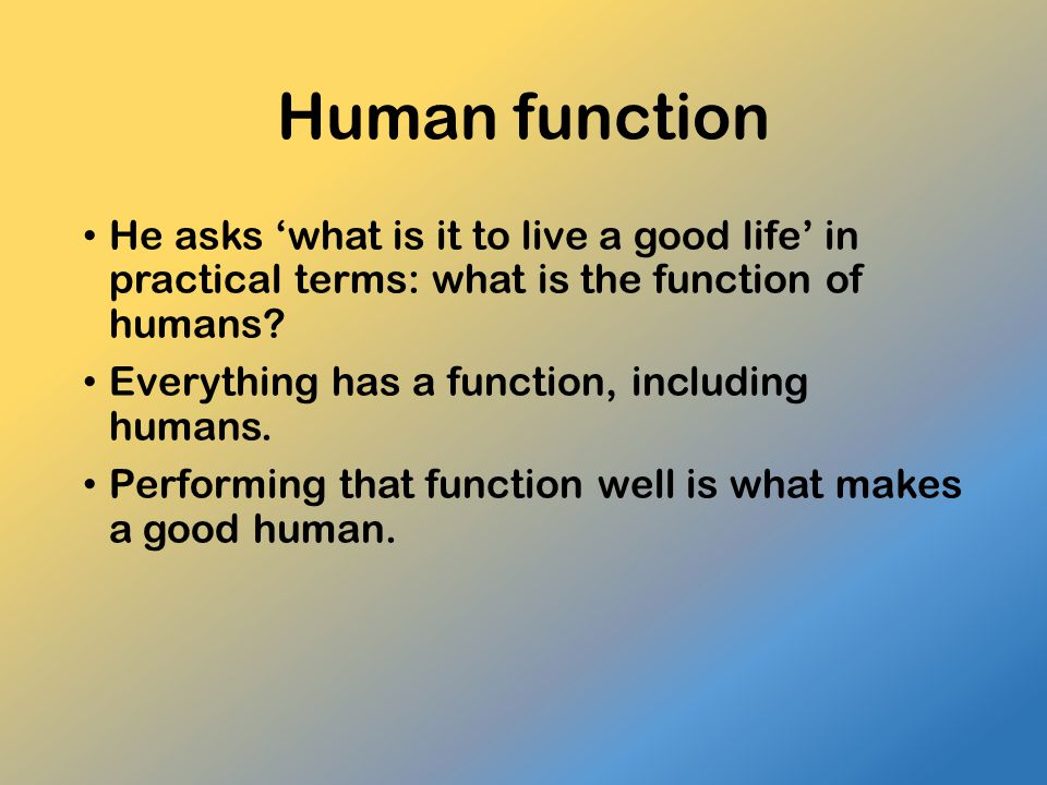 Human function He asks 'what is it to live a good life' in practical terms: what is the function of humans