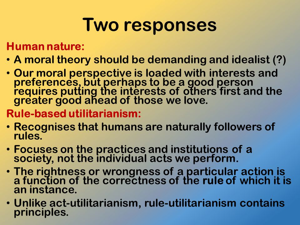 Two responses Human nature: