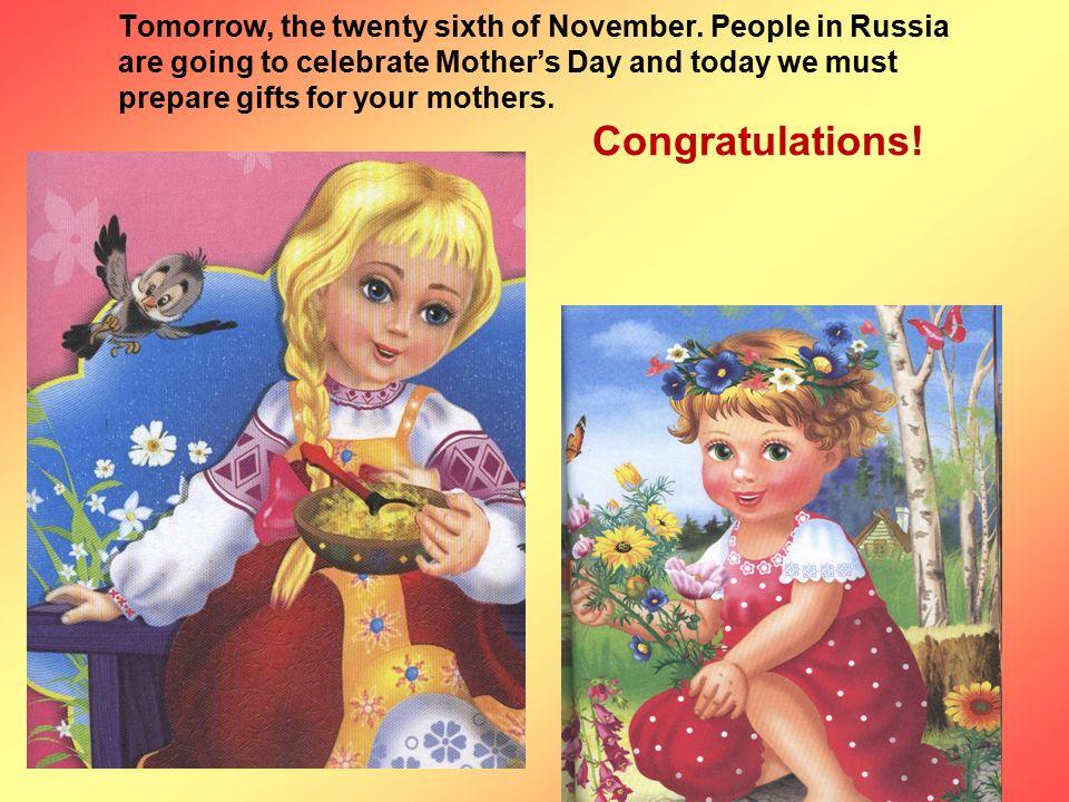 Tomorrow, the twenty sixth of November