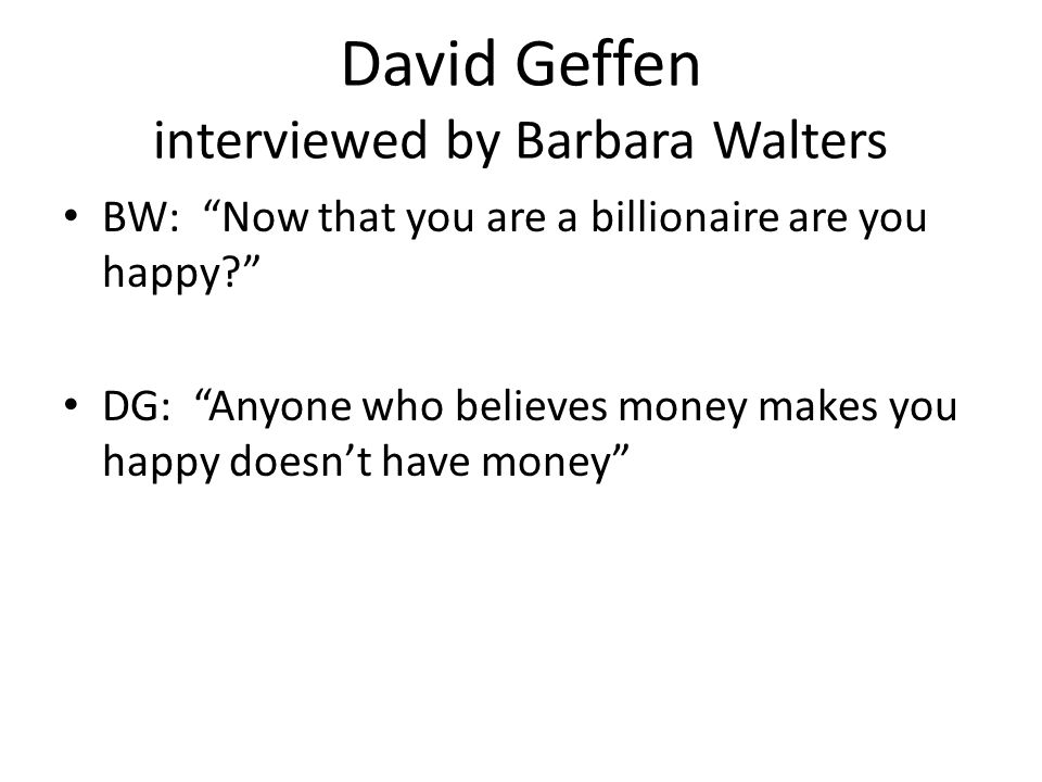 David Geffen interviewed by Barbara Walters