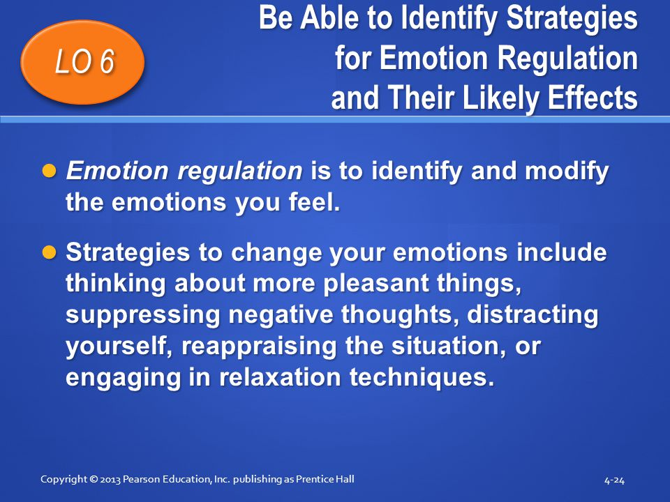Be Able to Identify Strategies for Emotion Regulation and Their Likely Effects