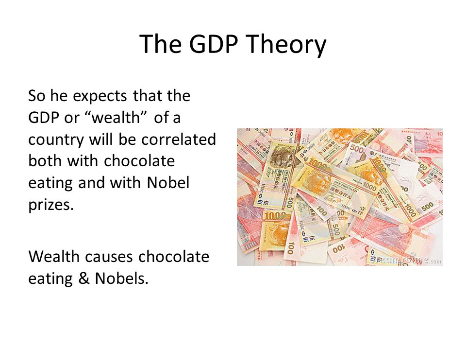 The GDP Theory So he expects that the GDP or wealth of a country will be correlated both with chocolate eating and with Nobel prizes.