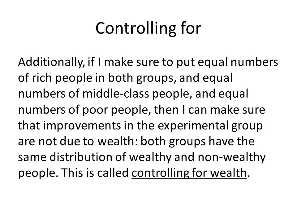 Controlling for