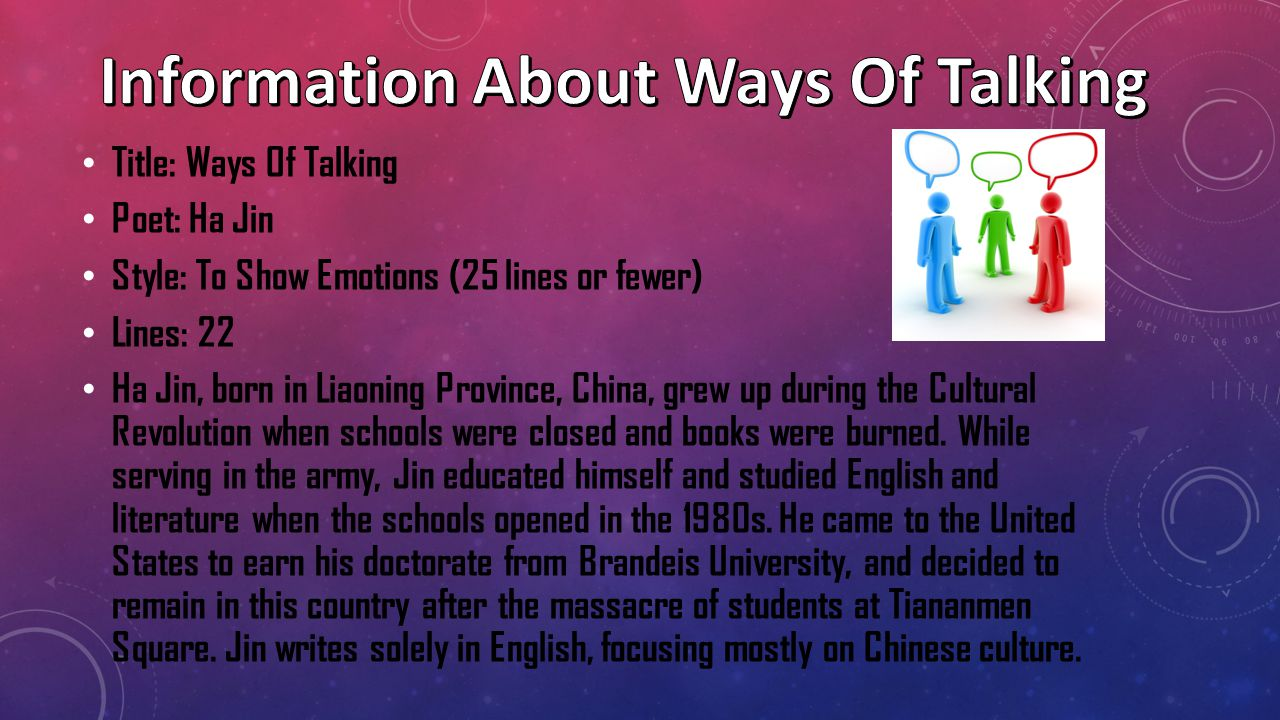 Information About Ways Of Talking