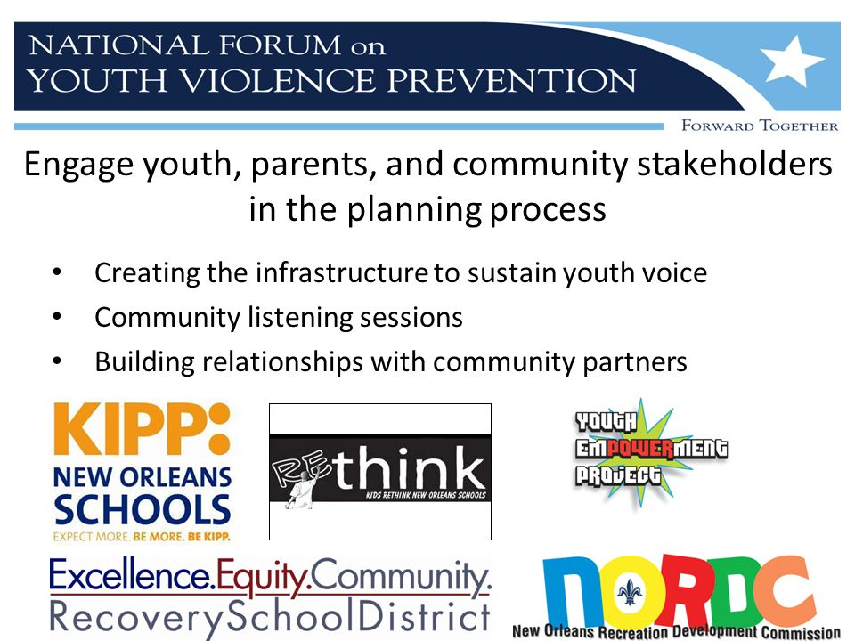 Engage youth, parents, and community stakeholders in the planning process