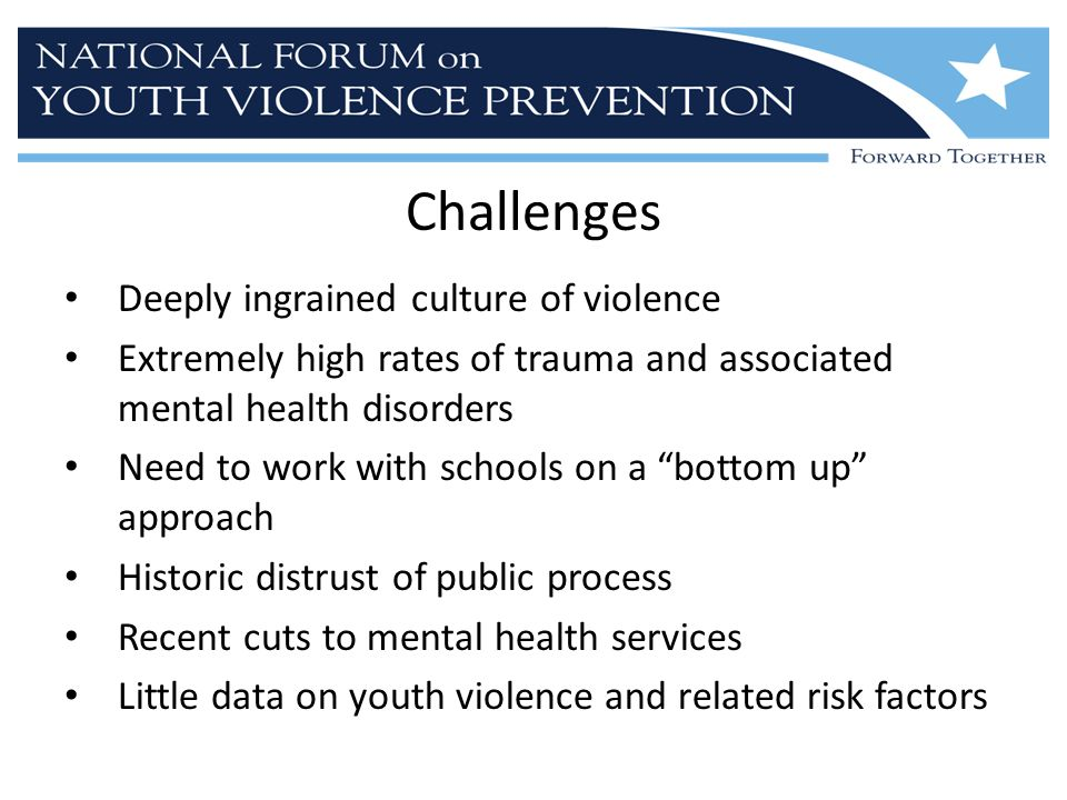 Challenges Deeply ingrained culture of violence