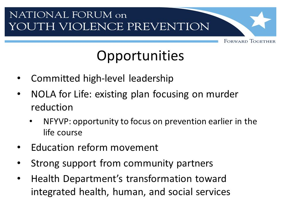 Opportunities Committed high-level leadership