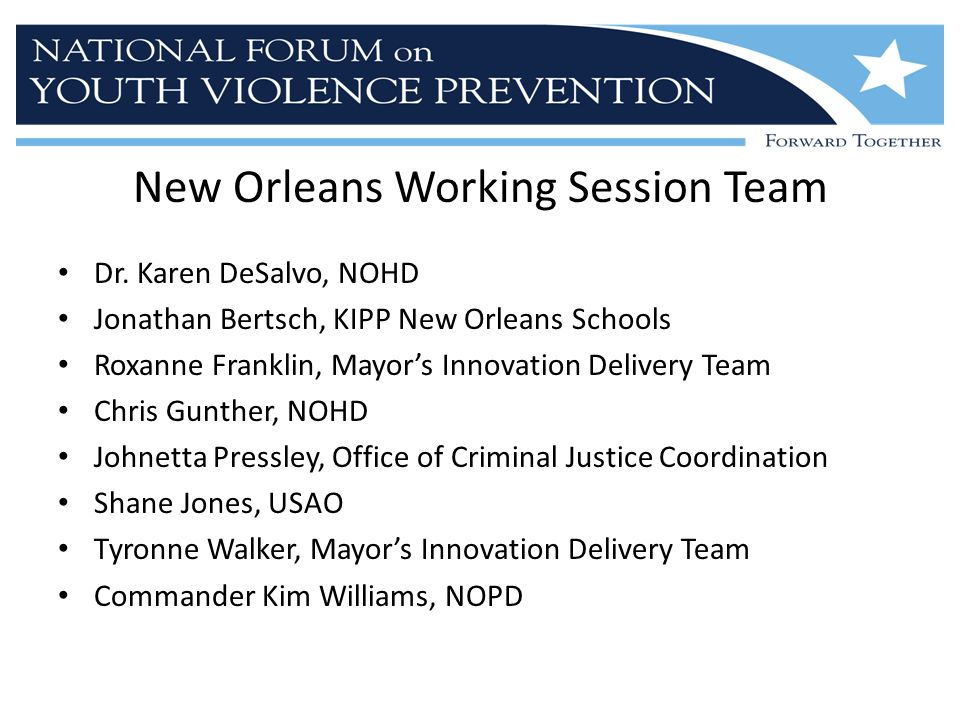 New Orleans Working Session Team