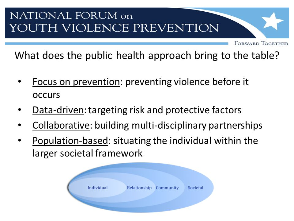 What does the public health approach bring to the table