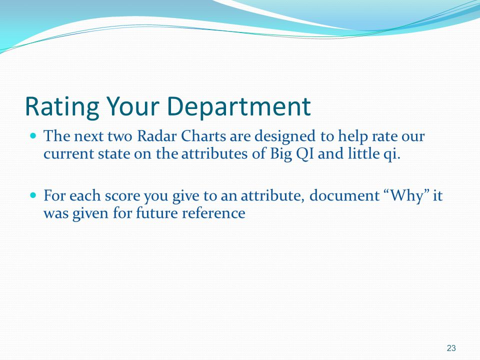 Rating Your Department