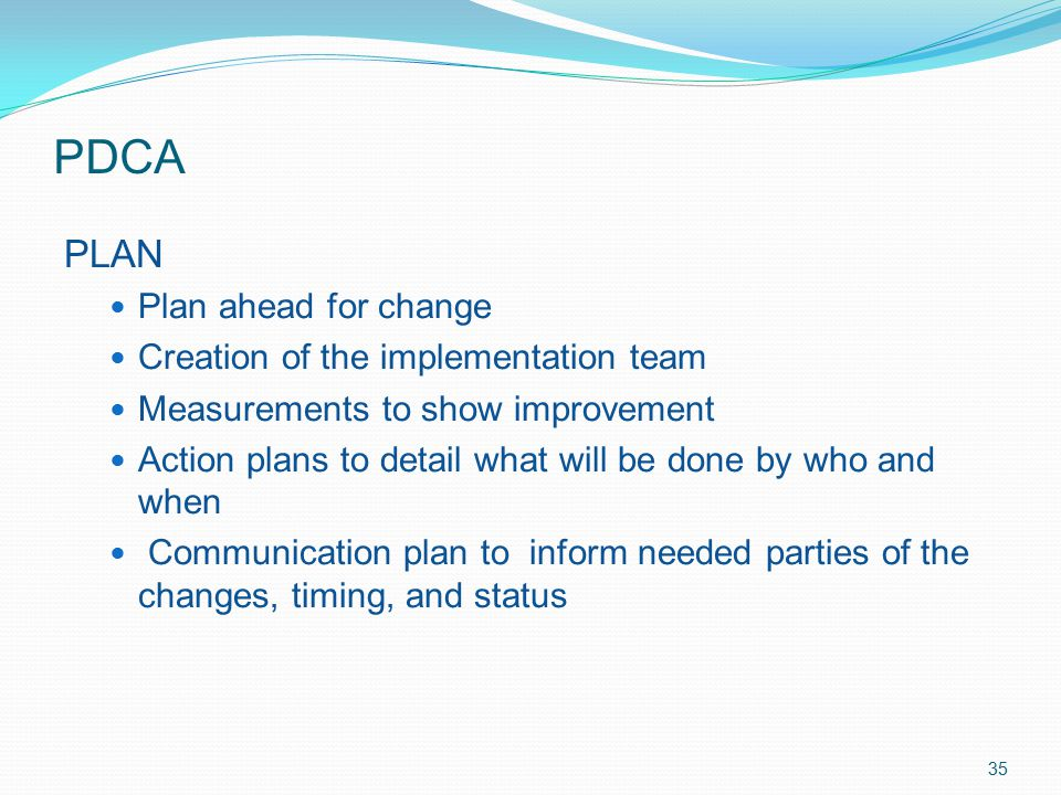 PDCA PLAN Plan ahead for change Creation of the implementation team