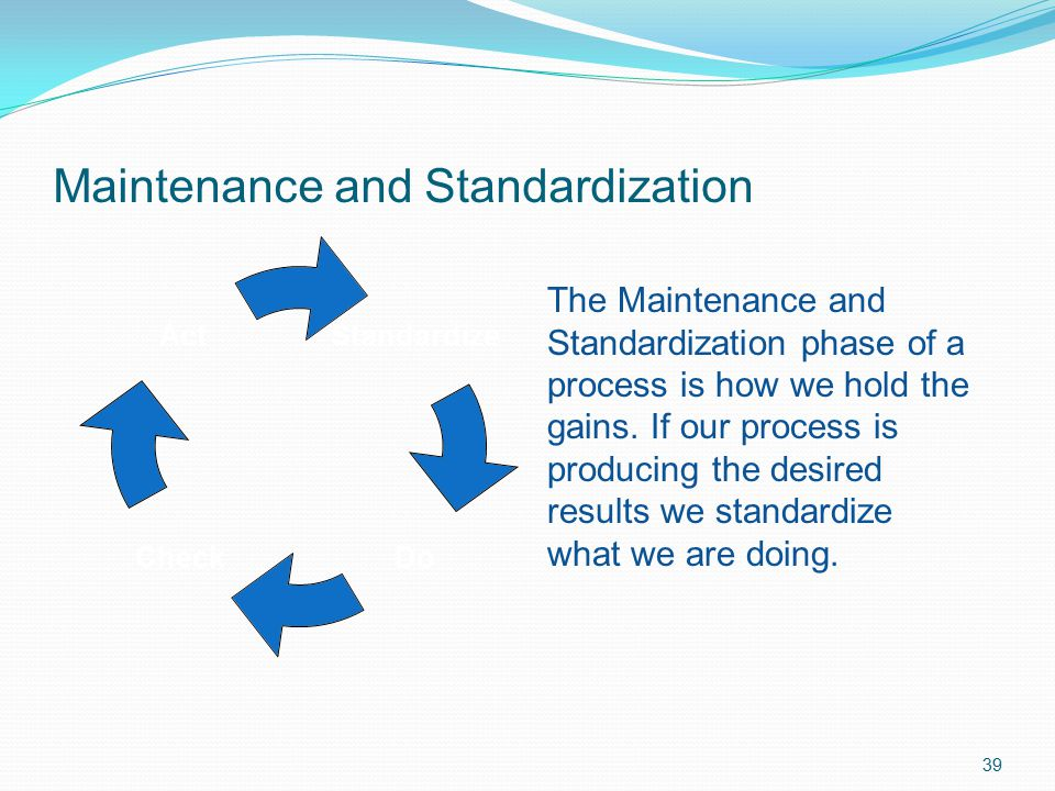Maintenance and Standardization