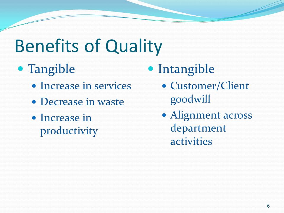 Benefits of Quality Tangible Intangible Increase in services