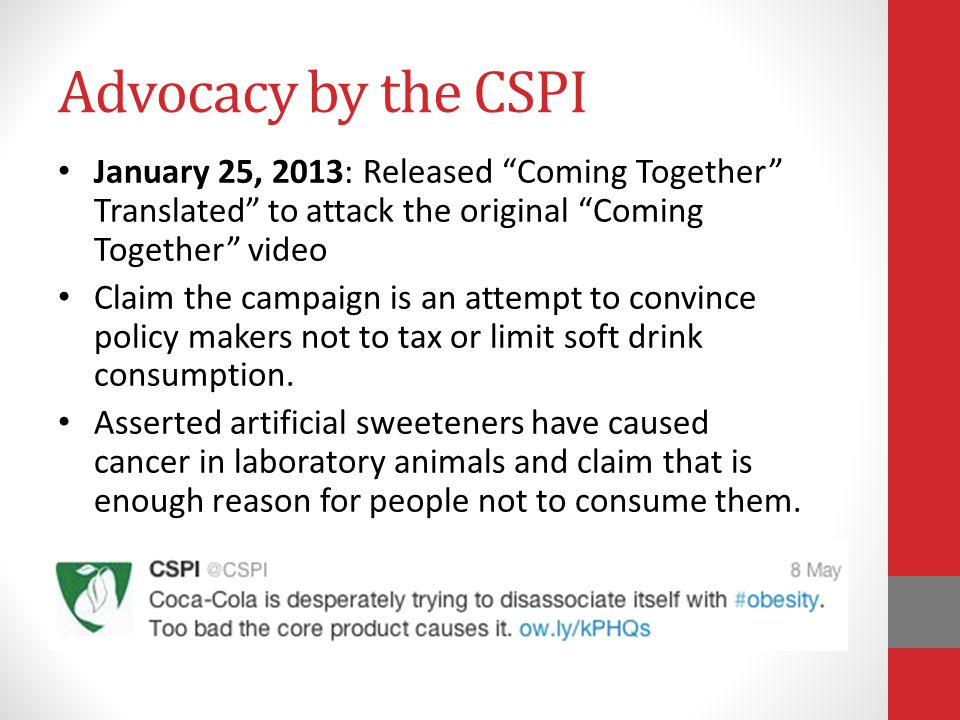 Advocacy by the CSPI January 25, 2013: Released Coming Together Translated to attack the original Coming Together video.