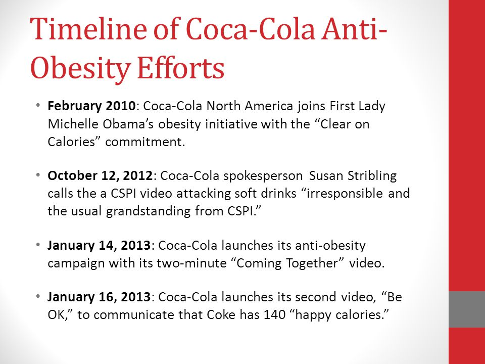 Timeline of Coca-Cola Anti-Obesity Efforts