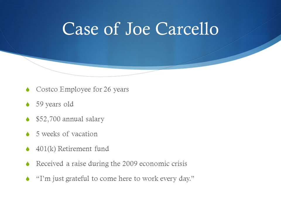 Case of Joe Carcello Costco Employee for 26 years 59 years old