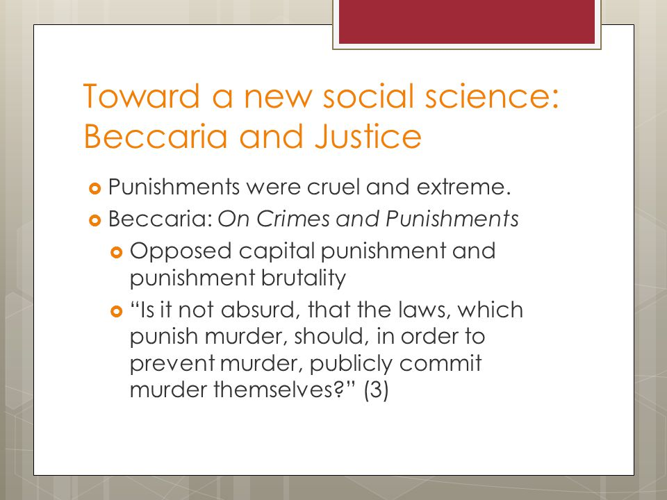 Toward a new social science: Beccaria and Justice