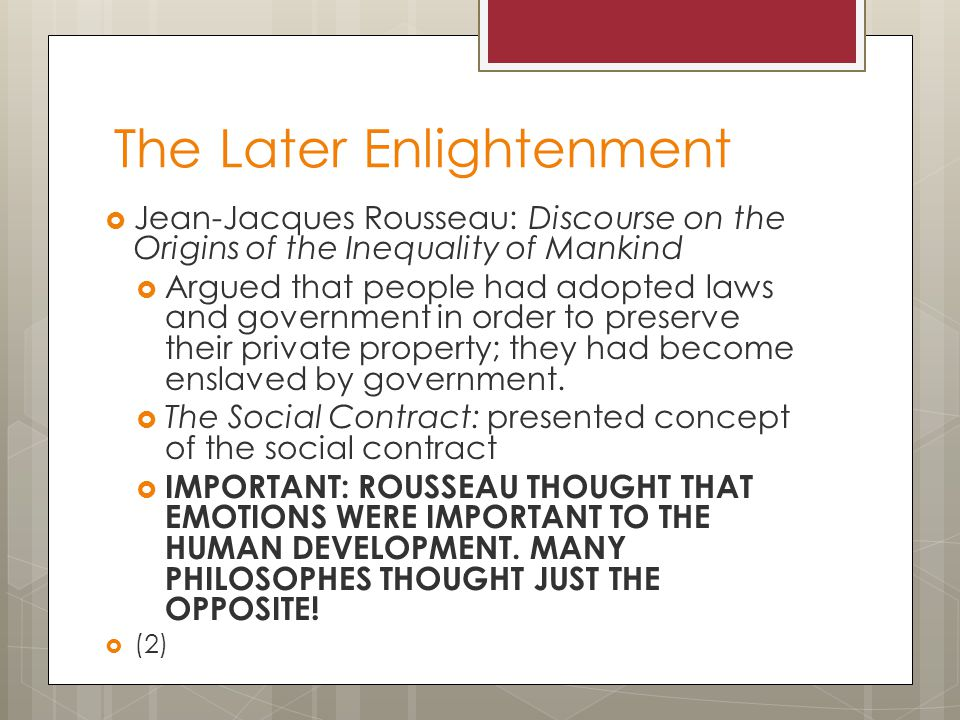 The Later Enlightenment