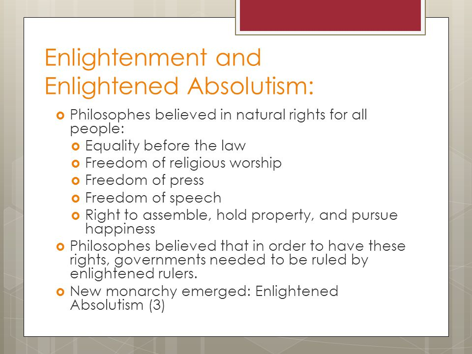 Enlightenment and Enlightened Absolutism: