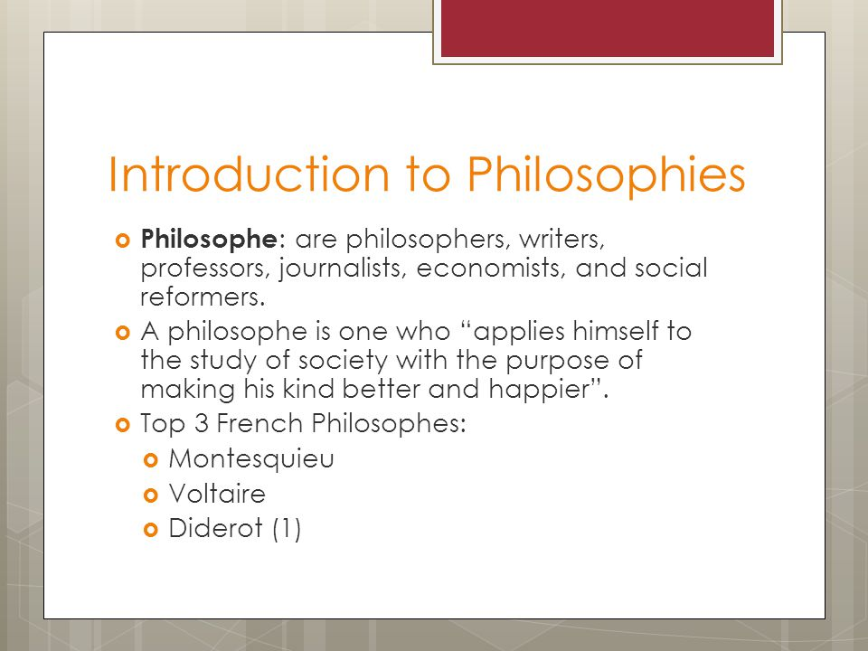 Introduction to Philosophies