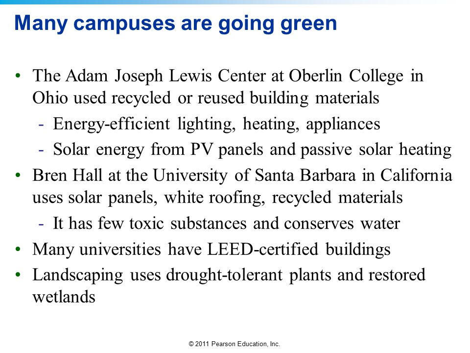Many campuses are going green