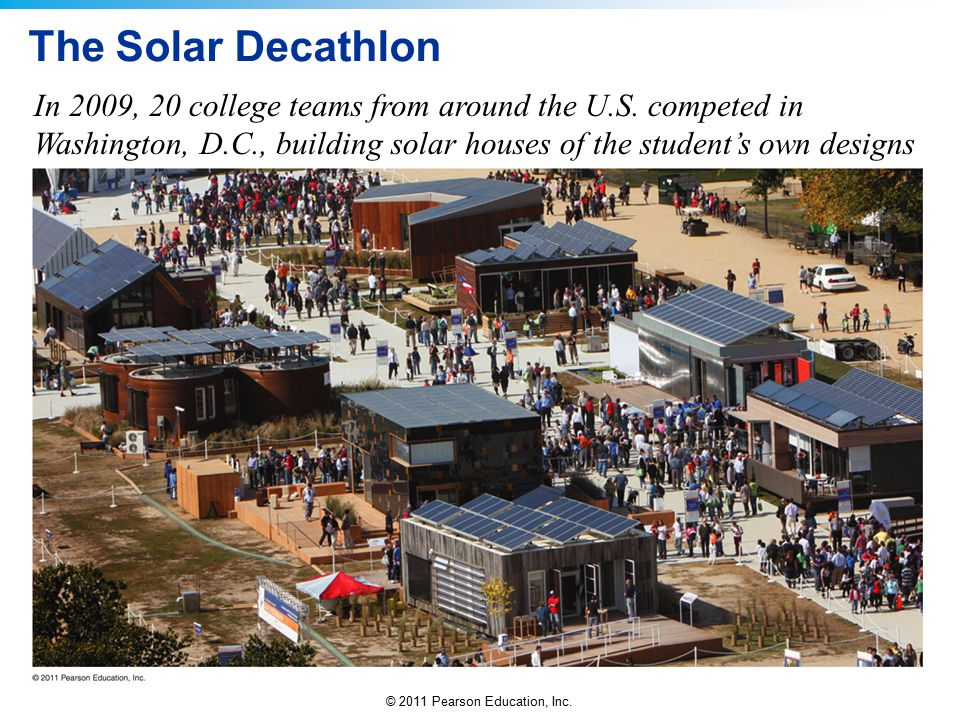The Solar Decathlon In 2009, 20 college teams from around the U.S.