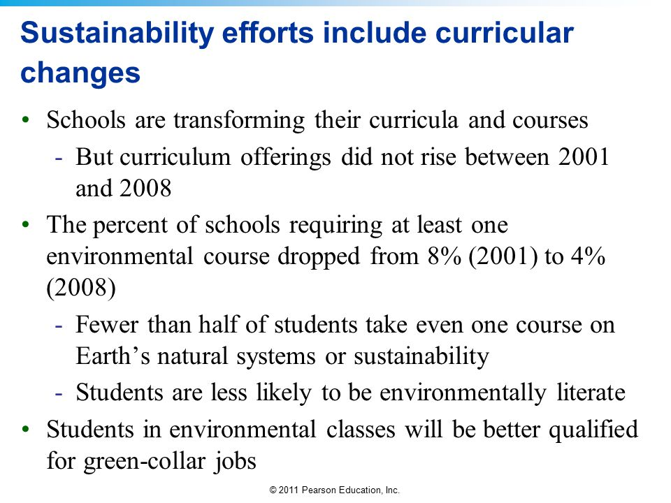 Sustainability efforts include curricular changes