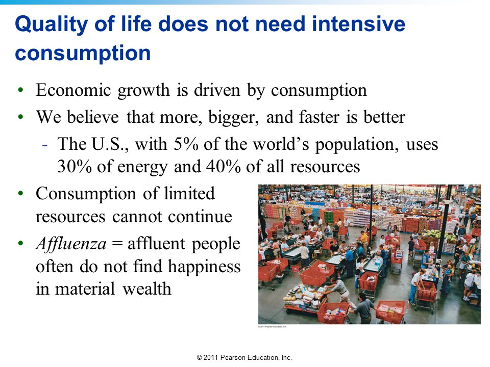 Quality of life does not need intensive consumption