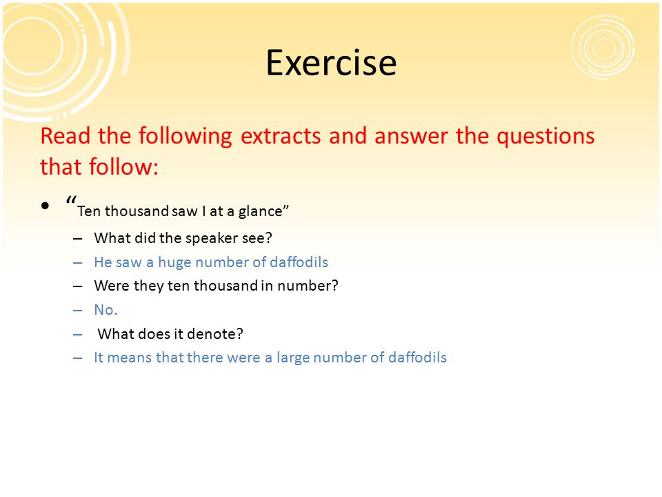 Exercise Ten thousand saw I at a glance
