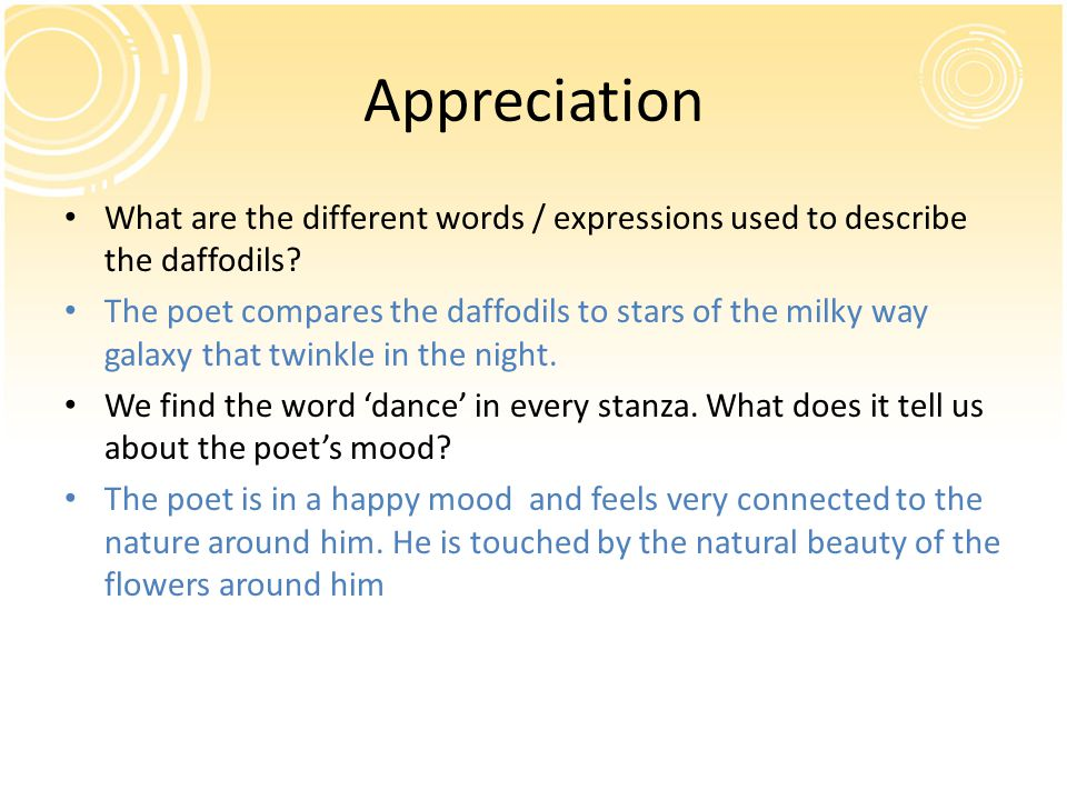 Appreciation What are the different words / expressions used to describe the daffodils