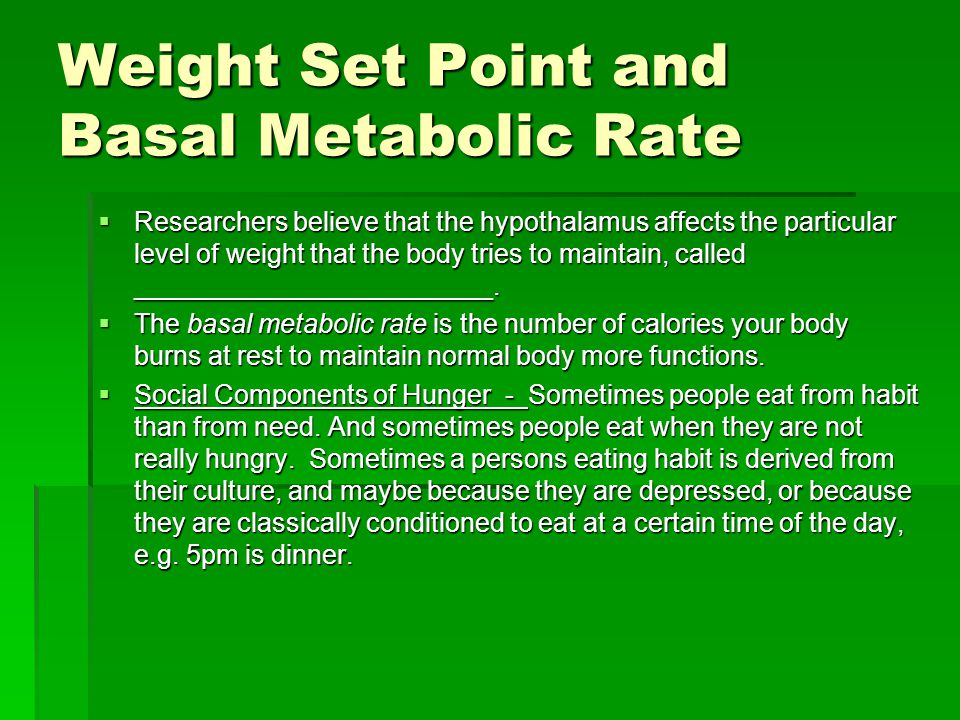 Weight Set Point and Basal Metabolic Rate