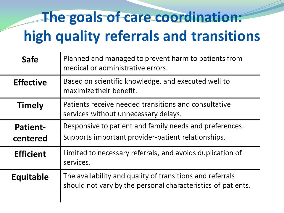 The goals of care coordination: high quality referrals and transitions