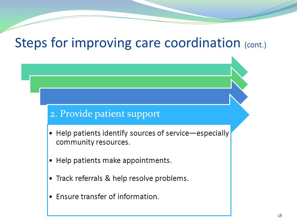 Steps for improving care coordination (cont.)