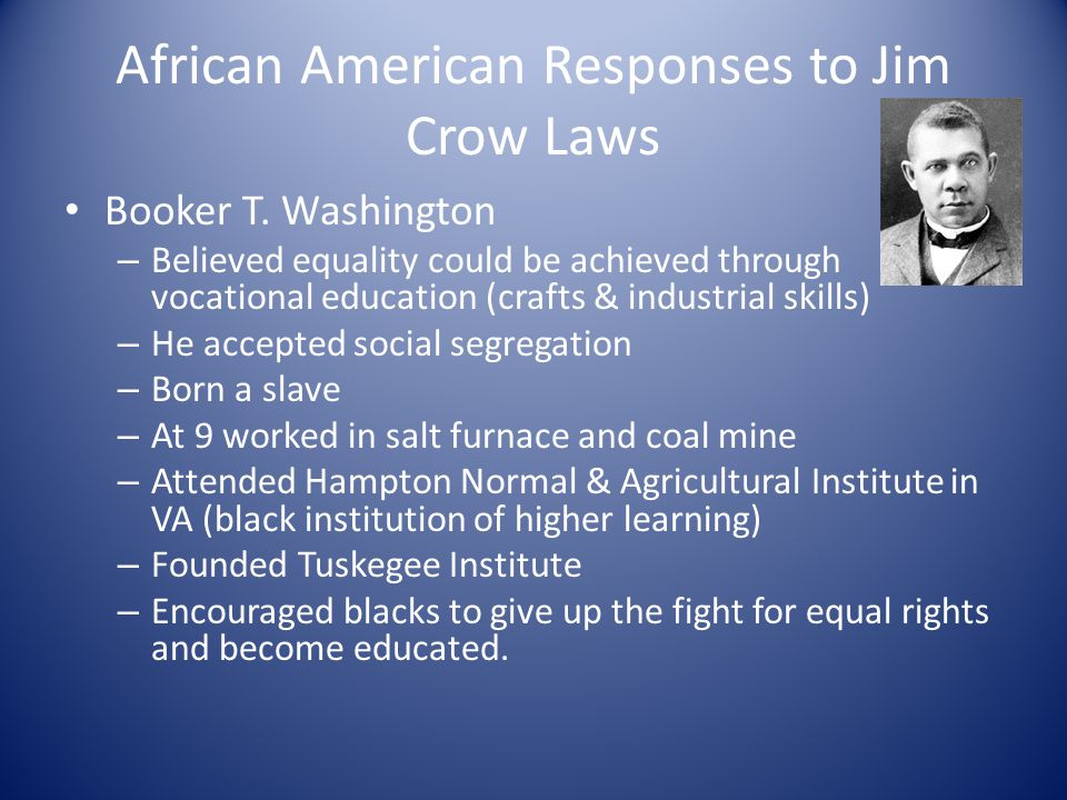 African American Responses to Jim Crow Laws